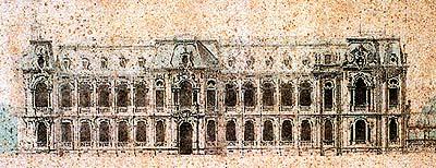 ภาพด้านหน้าของวังเจ้าฟ้ากรมขุนนครสวรรค์ (วังบางขุนพรหม) กรุงเทพฯ (พ.ศ.๒๔๔๖-๒๔๔๘)(ภาพ : เอเลนา ตามานโญ)
