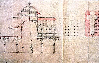 ภาพตัด และผังพื้น ท้องพระโรงวังพญาไท กรุงเทพฯ (พ.ศ.๒๔๖๒) (ภาพ : เอเลนา ตามานโญ)