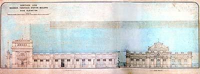 ภาพด้านข้างของ สถานีรถไฟ กรุงเทพฯ (พ.ศ.๒๔๕๕) (ภาพ : เอเลนา ตามานโญ)