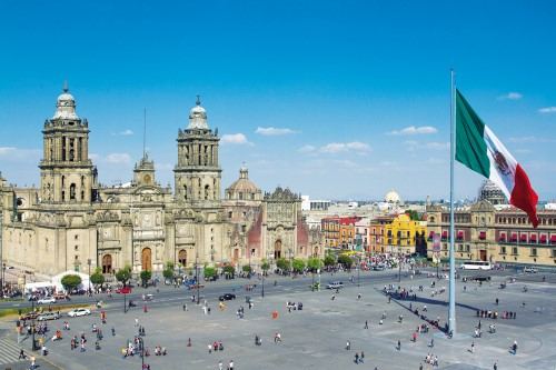16781711 - the zocalo in mexico city, with the cathedral and giant flag in the centre