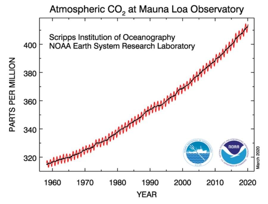 CO2 conc Mauna Loa Observatory 1960 to 2020
