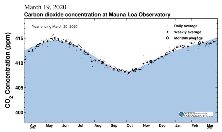 CO2 conc Mauna Loa Observatory 1year Mar20 2020