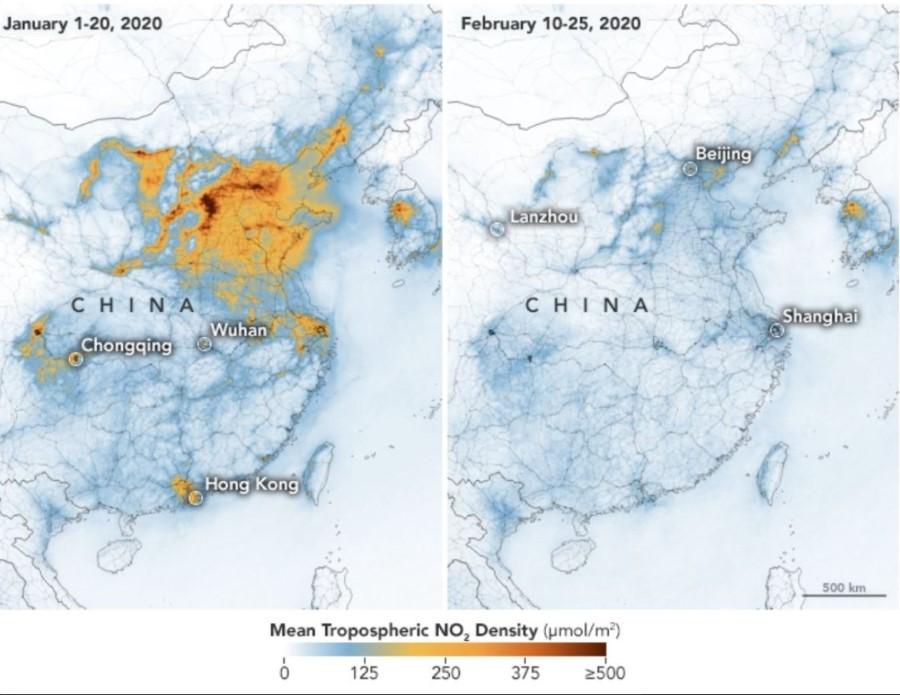 ภาพที่ 1: ความหนาแน่นเฉลี่ยของแก๊สไนโตรเจนไดออกไซด์ในประเทศจีนในปี ค.ศ. 2020 ซ้าย: ช่วงวันที่ 1-20 มกราคม ขวา: 10-25 กุมภาพันธ์ ที่มาของภาพ > https://earthobservatory.nasa.gov/images/146362/airborne-nitrogen-dioxide-plummets-over-china
