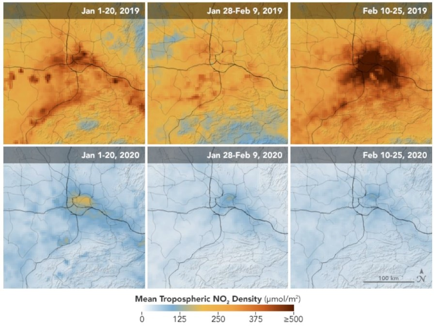 NO2 Density China 2019 vs 2020