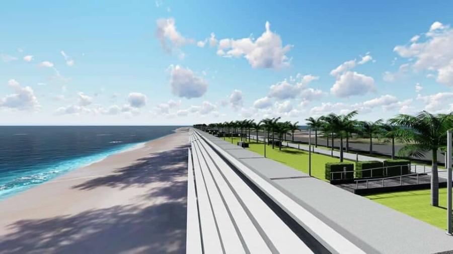 ภาพจำลองโครงการกำแพงกันคลื่นแบบขั้นบันไดที่จะถูกสร้างขึ้นบนหาด