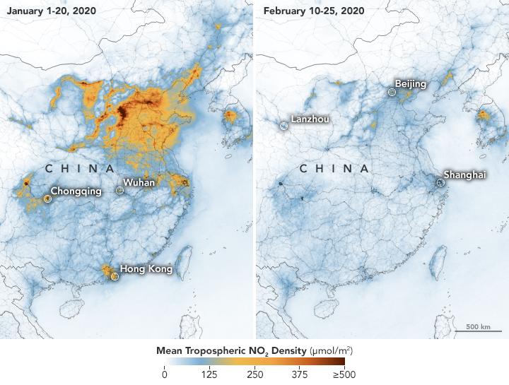 แผนที่แสดงความเข้มข้นของก๊าซไนโตรเจนไดออกไซด์เหนือสาธารณรัฐประชาชนจีน ก่อนคำสั่งปิดเมืองเมื่อวันที่ ๑-๒๐ มกราคม ๒๕๖๓ และระหว่างปิดเมืองเมื่อวันที่ ๑๐-๒๕ กุมภาพันธ์ ๒๕๖๓ ถ้าความเข้มข้นมากจะแสดงสีส้มเข้ม ประเมินว่าภาพรวมก๊าซไนโตรเจนไดออกไซด์ลดลงอย่างน้อยร้อยละ ๓๖ (ภาพ : ดาวเทียมSentinel-5ขององค์การ ESA)