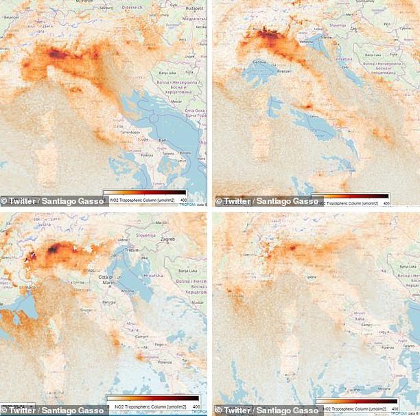 ความเข้มข้นของก๊าซไนโตรเจนไดออกไซด์เหนือประเทศอิตาลีลดลงในช่วงสามสัปดาห์จากวันที่ ๑๔ กุมภาพันธ์ (บนซ้าย) ๒๔ กุมภาพันธ์ (บนขวา) ๔ มีนาคม (ล่างซ้าย) และ ๘ มีนาคม (ล่างขวา) (ภาพ : ดาวเทียมSentinel-5ขององค์การ ESA , Twitter ของ Santiago Gassò)