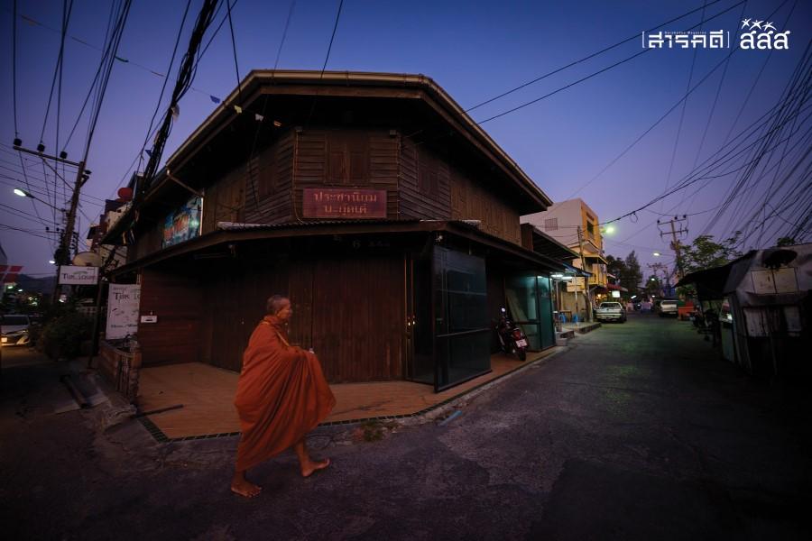 ความสุขจากความสงบ / ถนนทางเข้าสู่ชุมชนสมอเรียงในยามเช้า