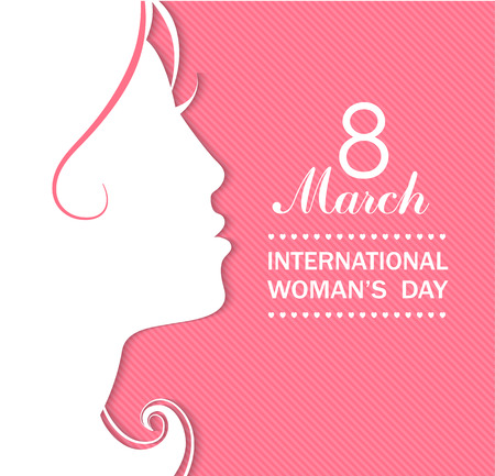 52287233 - happy women's day celebrations concept with a girl face on pink background. vector illustration.