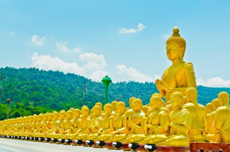 19441570 - golden buddha at buddha memorial park , nakorn nayok, thailand