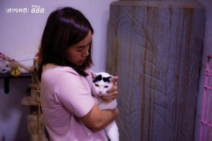 คุณยิ้ม นางฟ้าของแมวจร กับเจ้าสายฟ้าที่ป่วยเป็นโรคลำไส้อักเสบ คุณยิ้มจะทักทายและกอดแมวทุกตัวเมื่อกลับมาถึงบ้านในแต่ละวัน