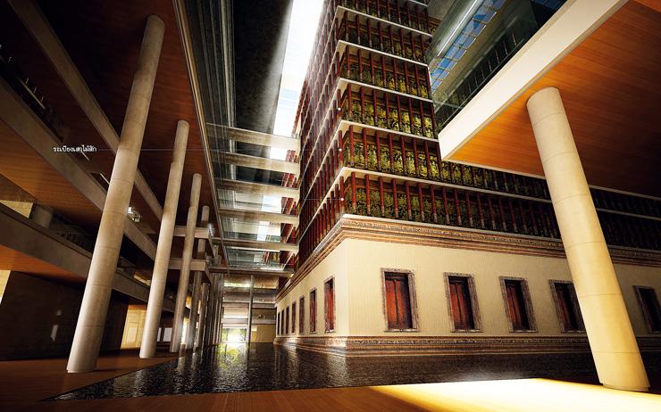 ภาพจำลองด้านในอาคารรัฐสภาแห่งใหม่ที่มีโครงการใช้ไม้สัก ๕,๐๐๐ ท่อนในการก่อสร้าง