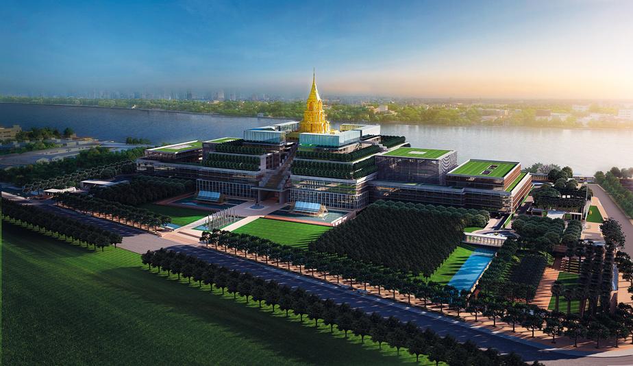 """ภาพจำลองอาคารรัฐสภาแห่งใหม่ ผู้ออกแบบใช้ชื่อว่า """"สัปปายะสภาสถาน"""" ตั้งอยู่ริมฝั่งแม่น้ำเจ้าพระยาย่านเกียกกาย"""